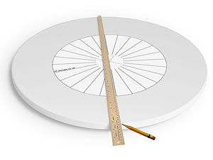 Процесс разметки поворотного стола на заданное число секторов с помощью шаблона